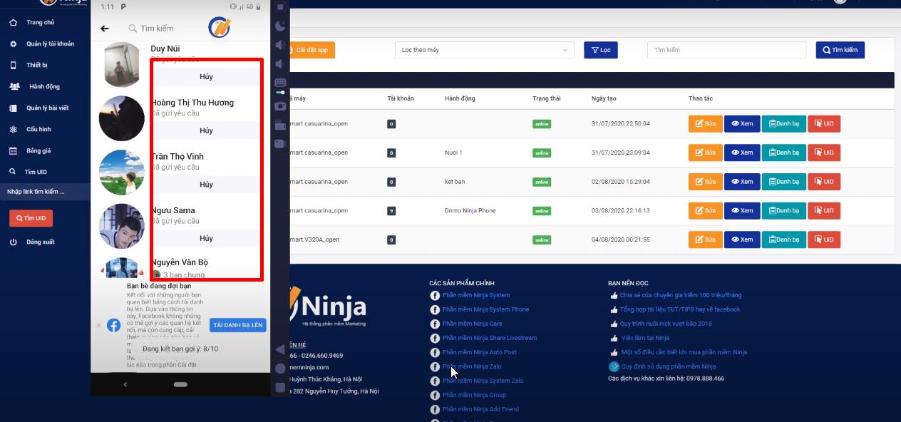 Phần mềm ninja phone giúp bạn nuôi hàng trăm nick tự động