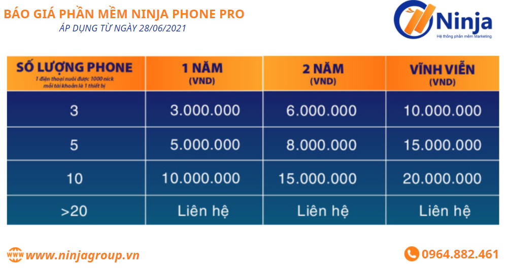 bao gia phan mem ninja phone pro